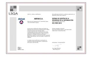 Certificado Abitab S.A. norma ISO 27001